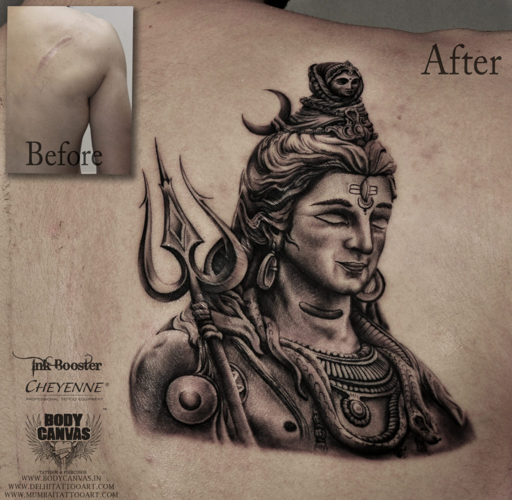 ea5a0a282 This Shiva Tattoo is mixture of different Art work such as Religious Tattoo,  Dot Work along with Mandala Lotus design. Our cool tattoo artists designed  this ...
