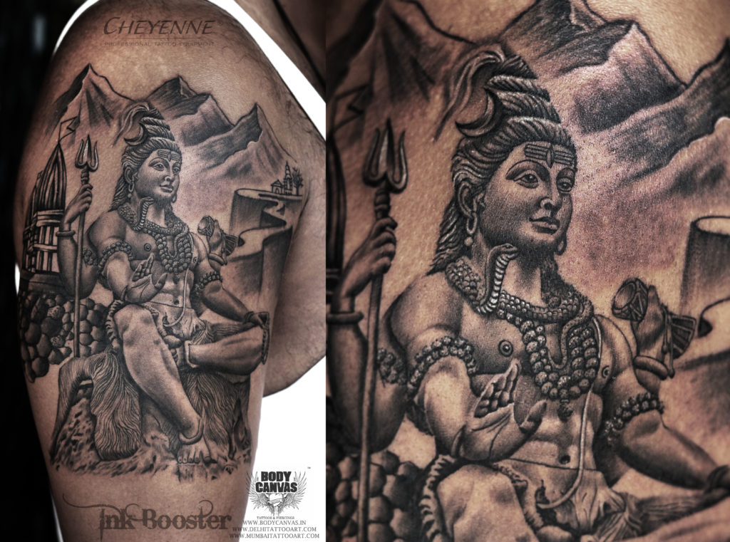 59c0aff68 A Unique Bholenath Tattoo piece for our client who wanted Lord Shiva  holding a Trishul and his third open. He explain the way he wanted the  tattoo and our ...